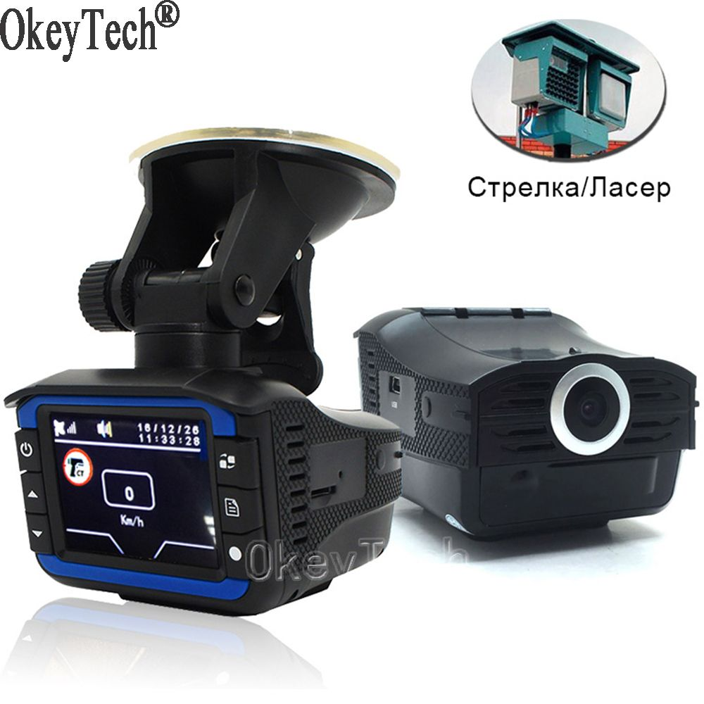 OkeyTech 3 In 1 Car Radar Detector GPS Tracker DVR Alarm System Warning Device 2.0 Inch Display 140 Degree Lens Russian Version