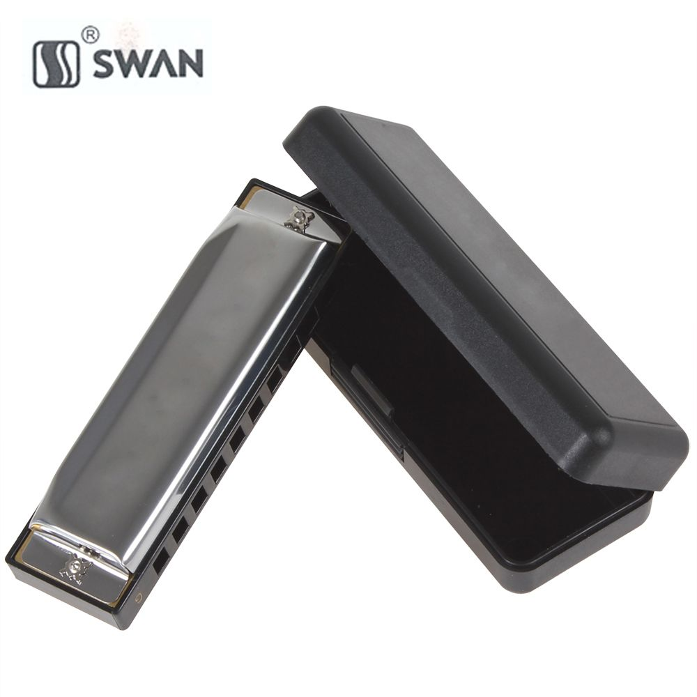 Swan Professional Diatonic Blues Harmonica Silver Metal 10 Holes 20 Tones G / C Key Mouth Organ Musical Instrument for Beginner