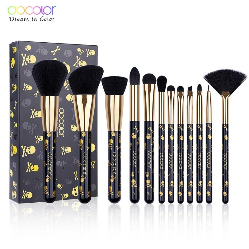 Docolor Makeup Brushes New 12PCS Make Up Brush Set Soft Synthetic Collection Kit with Powder Contour Eyeshadow Eyebrow Brushes