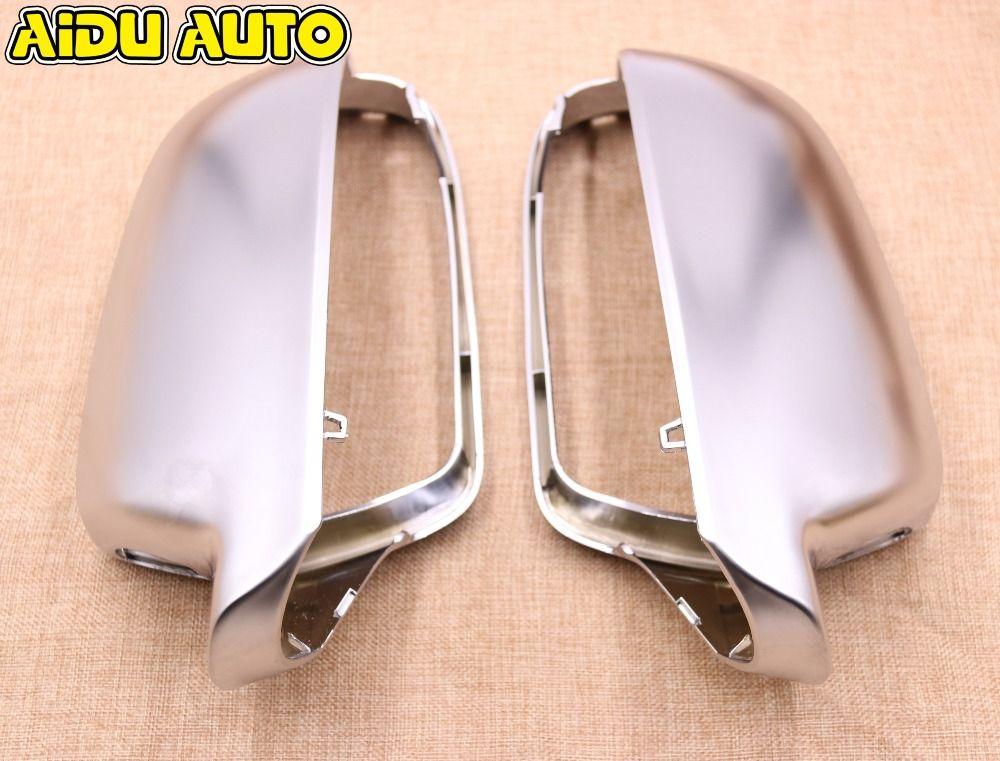 1 paire pour Audi A4 S4 B8 A5 S5 B8 Support d'assistance latérale mat chrome argent miroir boîtier rétroviseur coque de couverture