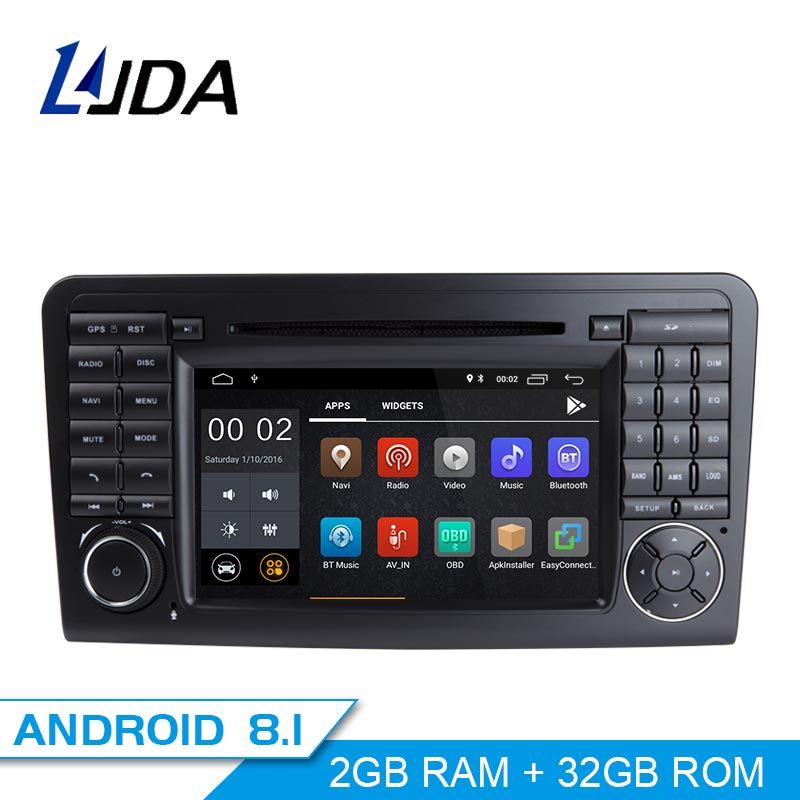 LJDA 2 Din Android 8.1 Car Radio For Mercedes Benz ML CLASS W164 ML350 ML300 Car Multimedia Player Stereo Audio GPS DVD WIFI IPS