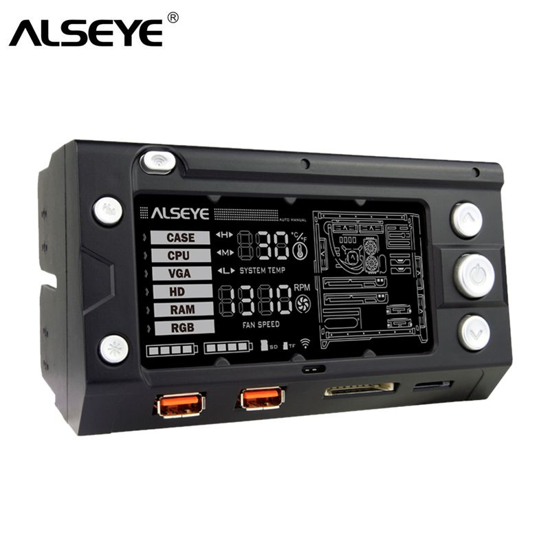 ALSEYE X-200 Fan Controller <font><b>Computer</b></font> fan speed and RGB controller Wifi Function 2 RGB LED Strips USB Charging SD/TF card reader