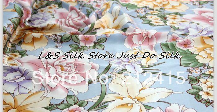 Livraison gratuite 100% mûrier soie tissu nature pure charmuse soie imprimé pivoine tissu pour robe literie scraf ls0709