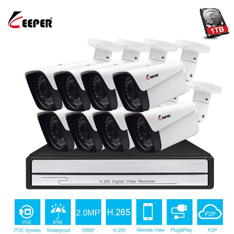 H.265 8ch Security Camera POE System 1080P 8PCS Outdoor IP Camera Surveillance System POE NVR Kit 2MP Waterproof Security System