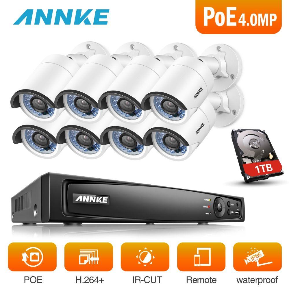 ANNKE 8CH 6MP POE NVR Sicherheit System Mit 8 stücke 4mm 4MP 1688*1520 Outdoor Wetterfeste Nachtsicht kameras P2P Onvif Mit HDD