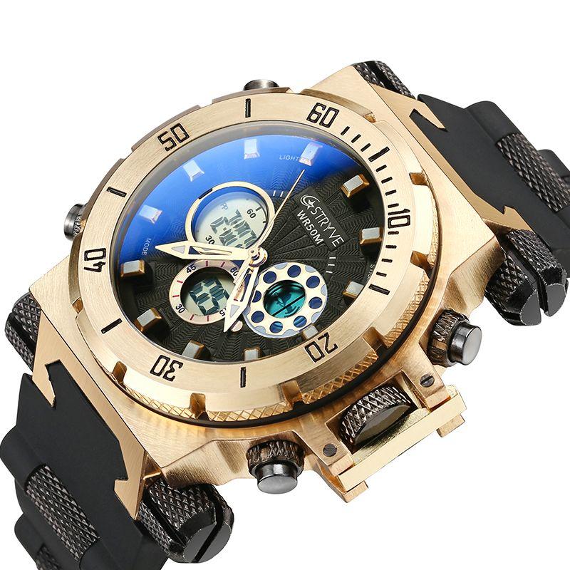 Fashion Männer Military Sport Uhren Herren LED Digital Wasserdicht Quarzuhr Männlichen Große Zifferblatt Dual Display Uhr Relogio Masculino