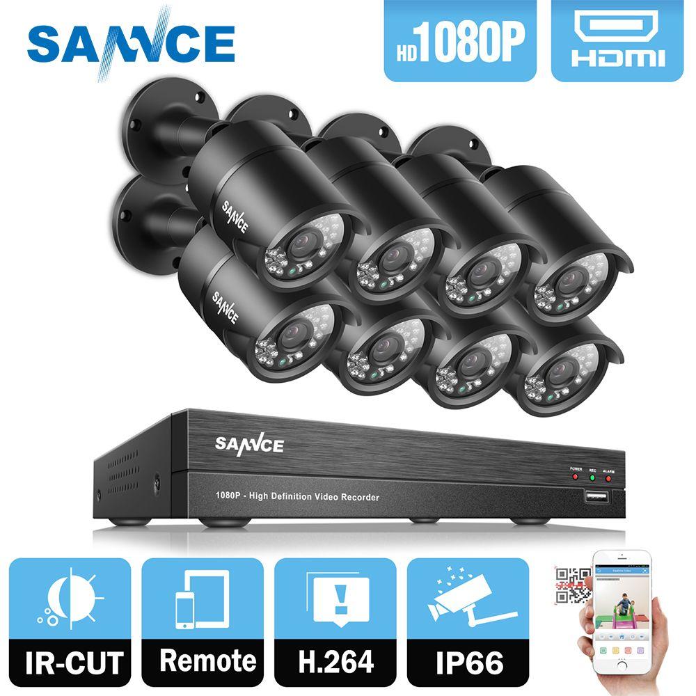 SANNCE 8CH 1080 P 2MP CCTV DVR Recorder 8 PCS 1080 P HD 1920*1080 In/Outdoor Sicherheit kugel Kamera System & 1 TB HDD Onvif