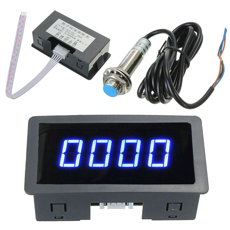 Blue 4 Digital LED Tachometer RPM Speed Meter 5-9999RPM Speedometer + Pusle Signal NPN Hall Proximity Switch Sensor 3 Wires