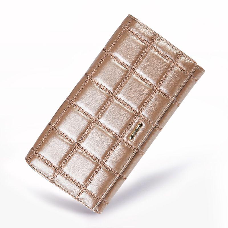 Echtes Leder Frauen Brieftasche Rindledergeldbeutel Frauen Lange Plaid Geldbörsen Marke Designer Reißverschluss Haspe Kupplung Brieftasche Weibliche Kartenhalter