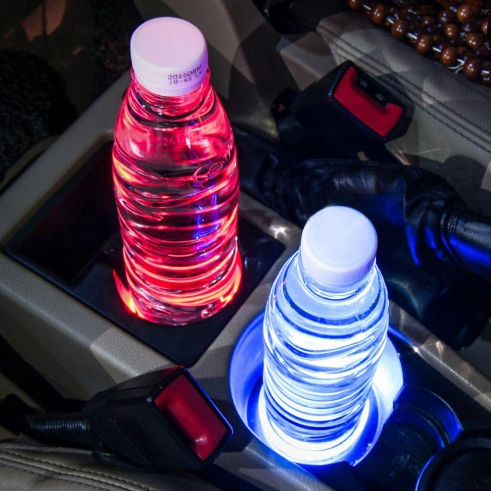 Universal Solar LED Car Cup Holder Mat Anti Slip Waterproof Pad Bottle Drinks Coaster Atmosphere Lamp for Car SUV Truck
