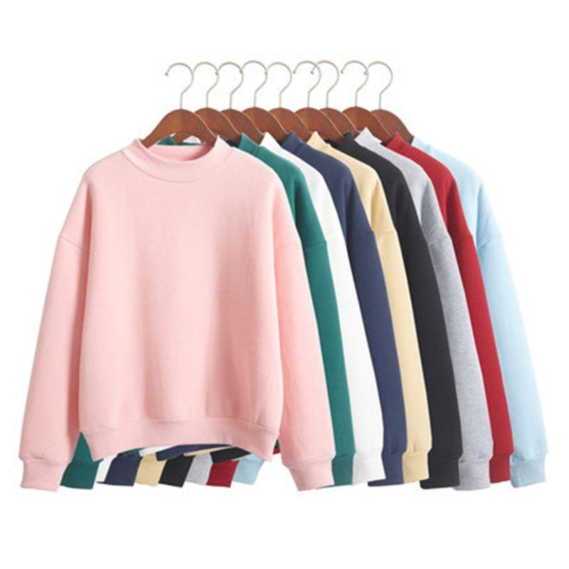 Оптовая М-XXL милые Для женщин Толстовки пуловер 9 видов цветов осень 2017 г. пальто зимние свободные флис толстый трикотажный Свитшот женский