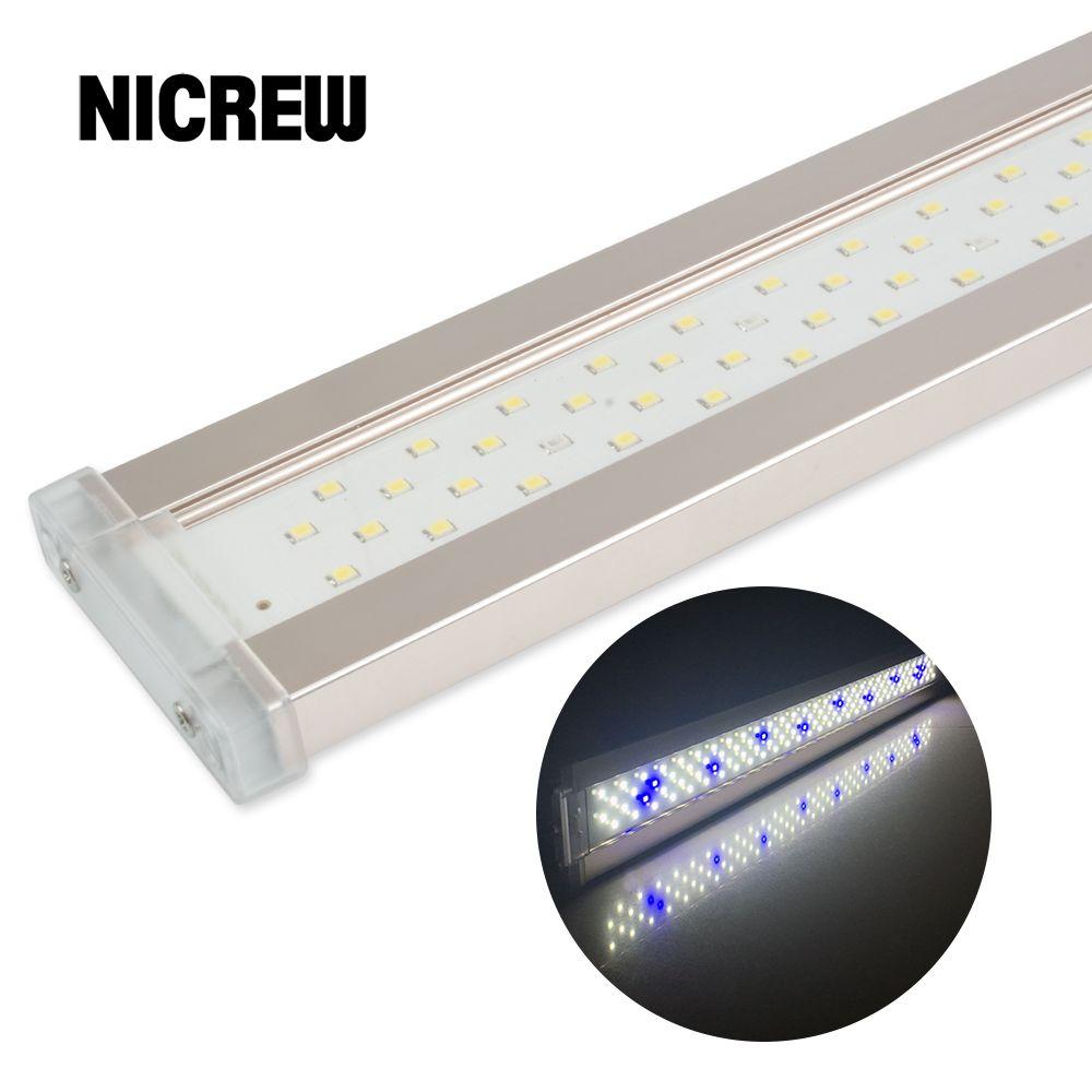 Nicrew LED pour Aquarium éclairage pour Aquarium usine 12 W-24 W Ultra-mince en alliage d'aluminium Aquarium usine grandir LED éclairage 6500-7500 K
