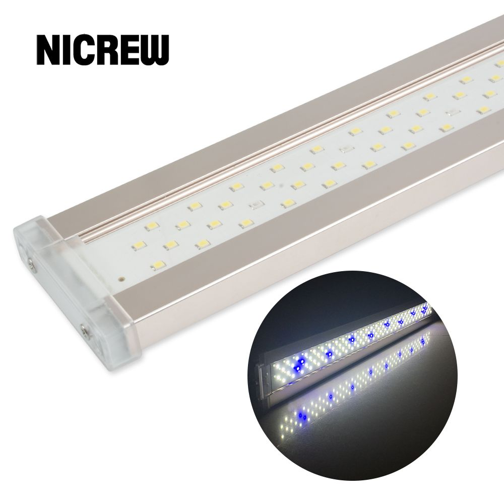 Nicrew LED pour Aquarium éclairage pour Aquarium plante 12 W-24 W Ultra-mince en alliage d'aluminium Aquarium plante poussent LED éclairage 6500-7500K