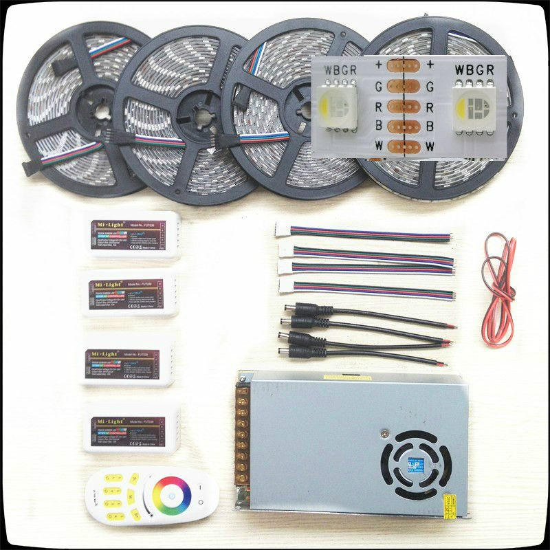 RGB/W Led Strip 5050 Waterproof IP20/IP65 DC12V 4 colors in 1 Chip Led Light+Remote Controller+Led Power Supply Kit 5-20m