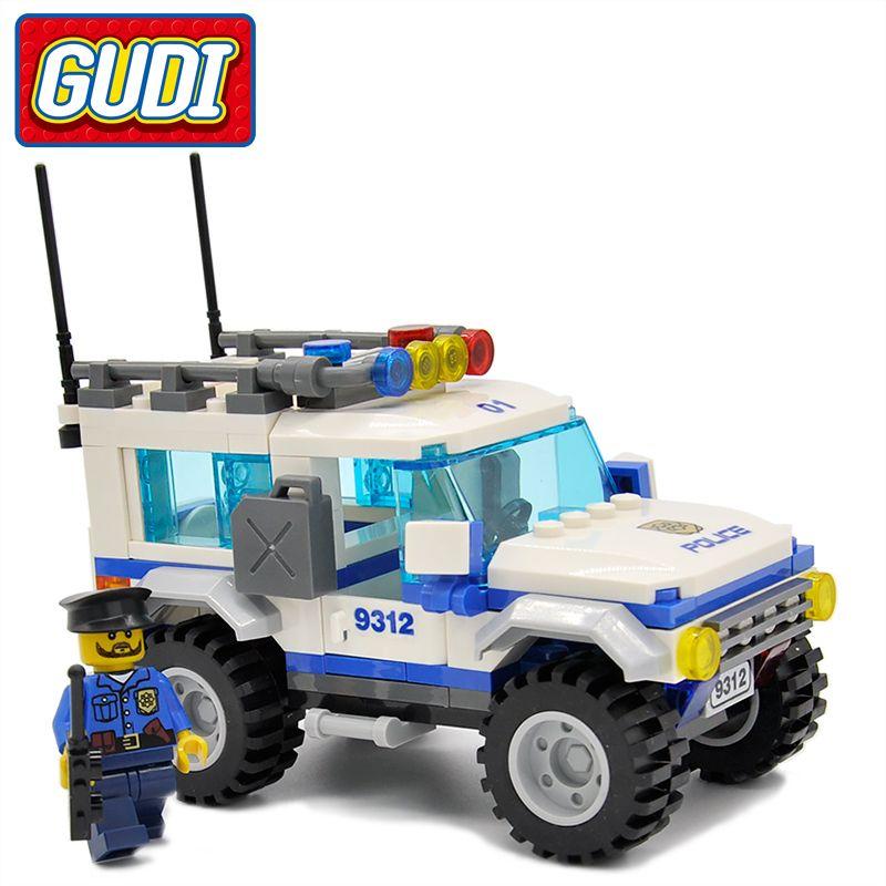 GUDI Legoings Ville Police SUV 163 pièces Briques Voiture blocs de construction Classique Assemblé coffrets cadeaux Jouets Pour Enfants