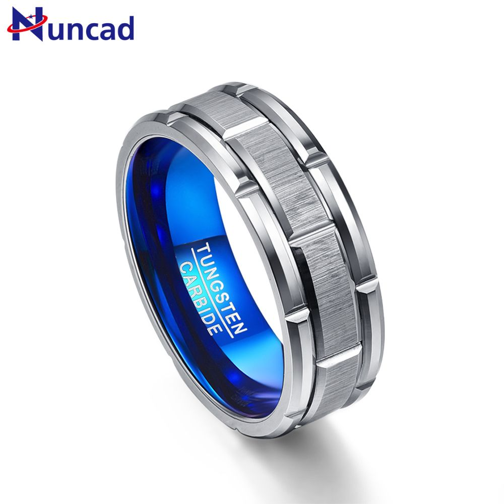 Nuncad T062R unique Engagement ring <font><b>combination</b></font> ring hole blue 8MM wide tungsten steel ring size 7-12