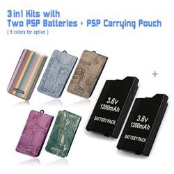 Game accessories for Two PSP Batteries + One PSP Travel Carrying Pouch, Case Bag For All SONY PSP-2000,3000