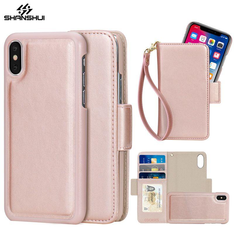 Abnehmbare PU Ledertasche für iPhone 7 8X6 Plus 5 SE 2in1 Magnetisches Mädchen Rose Gold Rosa Flip Brieftasche Strap Handtasche Telefon tasche