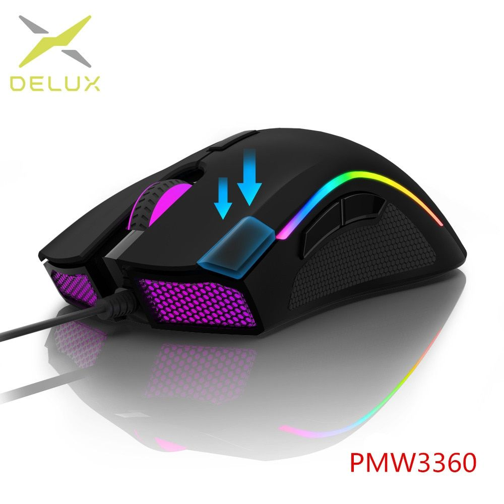 Delux M625 PMW3360 Sensor Gaming Mouse 12000DPI 12000FPS 7 Buttons RGB Back light Optical Wired Mice with Fire Key For FPS Gamer