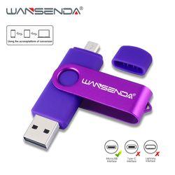 Fast speed Wansenda 128gb 64gb OTG USB Flash Drive for Android Phone pen drive 32gb 8gb pendrive 16gb 4gb otg usb 2.0 USB Stick
