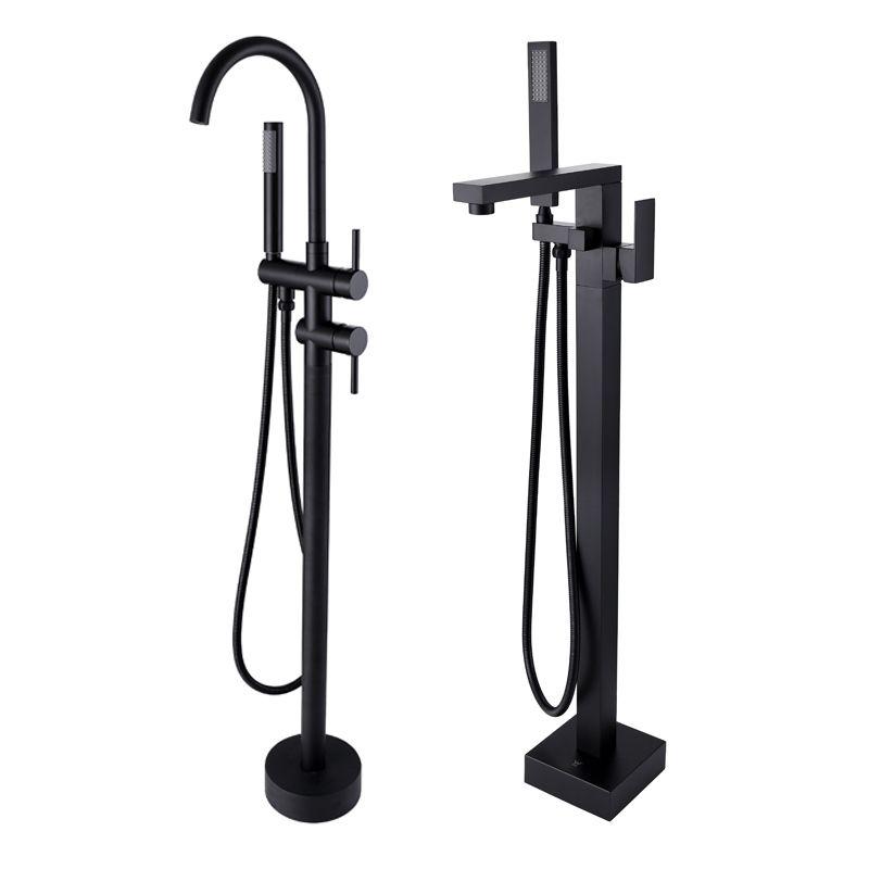 New Freestanding Bath Spout Shower Floor Mount Shower set Mixer Valve 2 Function Matte Black Bathtub Filler Mixer Taps