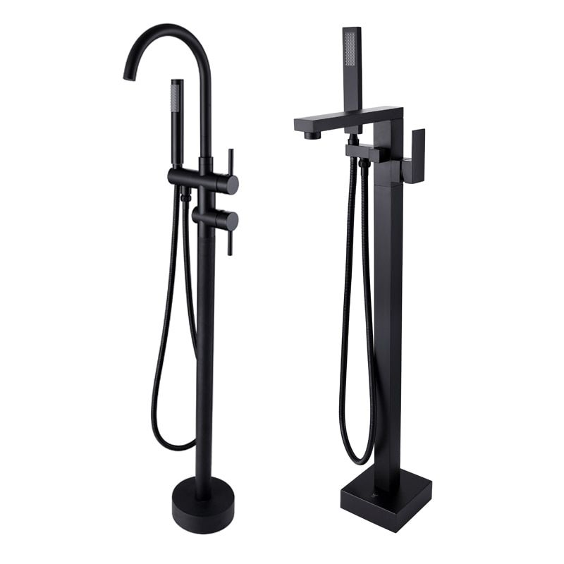 New Freestanding Bath Spout Shower Floor Mount Shower set Mixer Valve 2 Function Matte Black Bathtub Filler Mixer Taps