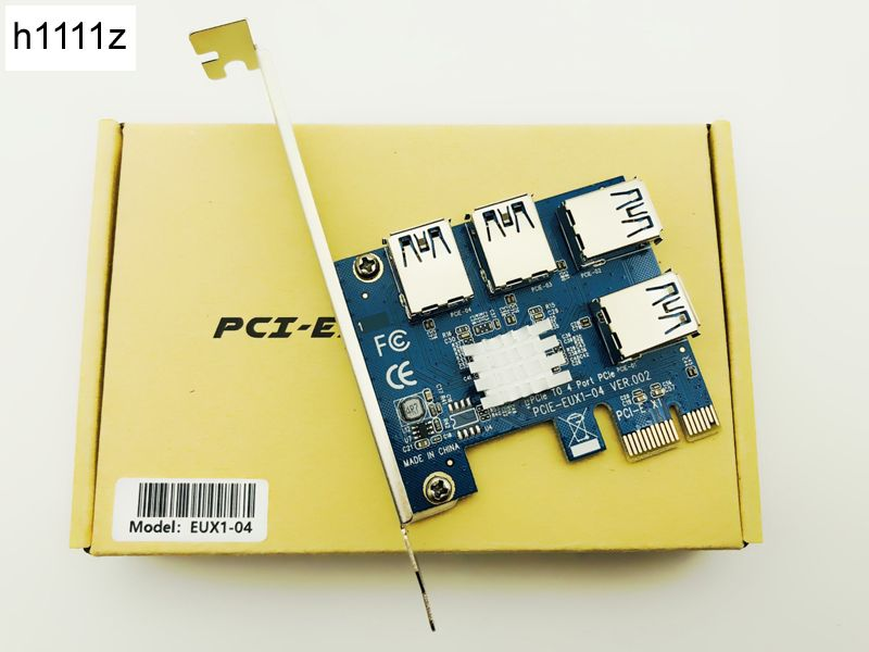 Hot PCIE PCI-E PCI Express Riser Card 1x to 16x 1 to 4 USB 3.0 Slot Multiplier Hub Adapter For <font><b>Bitcoin</b></font> Mining Miner BTC Devices