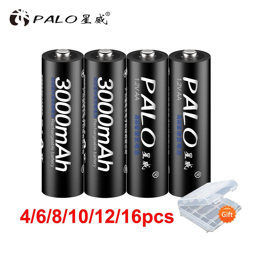 PALO 100% PALO batterie originale 3000mAh NiMH AA piles rechargeables, jouets de haute qualité, appareils photo, lampes de poche et batterie