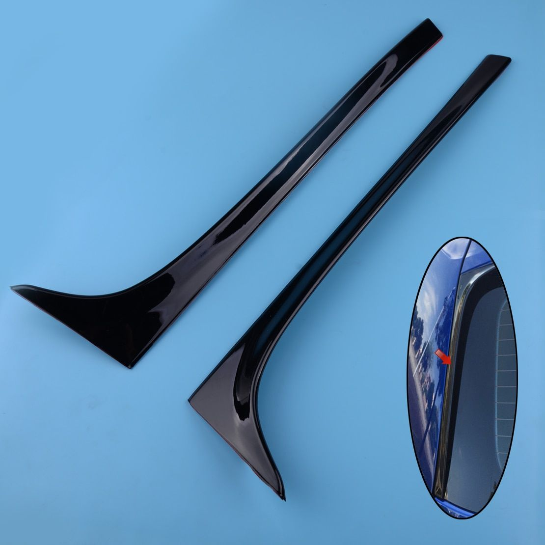 beler 2Pcs Car Black Plastic Rear Window Side Spoiler Wing Lip Cover Trim Sticker Fit For VW GOLF MK7 MK7.5 R GTE GTD