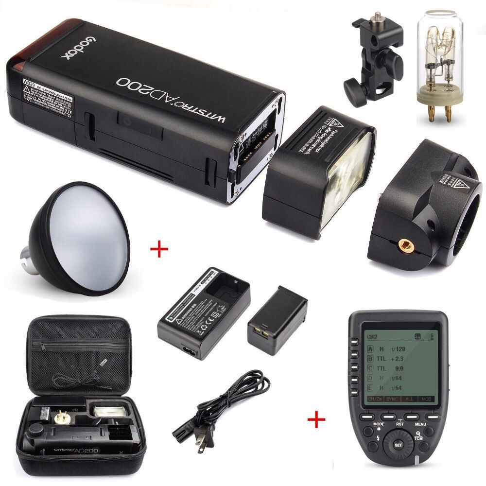 Godox AD200 200Ws 2.4G TTL Flash Strobe 1/8000 HSS Cordless Monolight with Battery Bare Bulb/Speedlite Fresnel Flashes For Canon