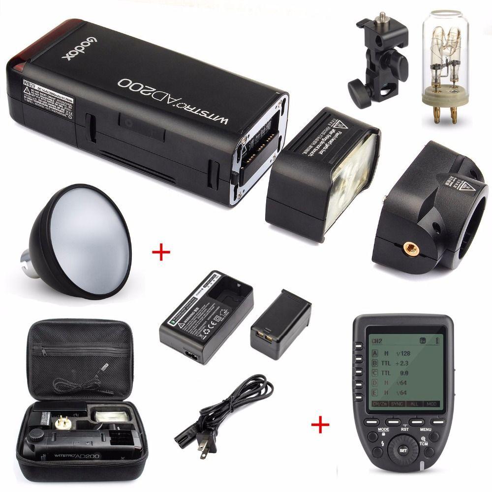 Godox AD200 200Ws 2,4G TTL Flash Strobe 1/8000 HSS Cordless Nackte Glühbirne/Speedlite Blitzgerät Für Canon Nikon Dslr kamera Mit X1T
