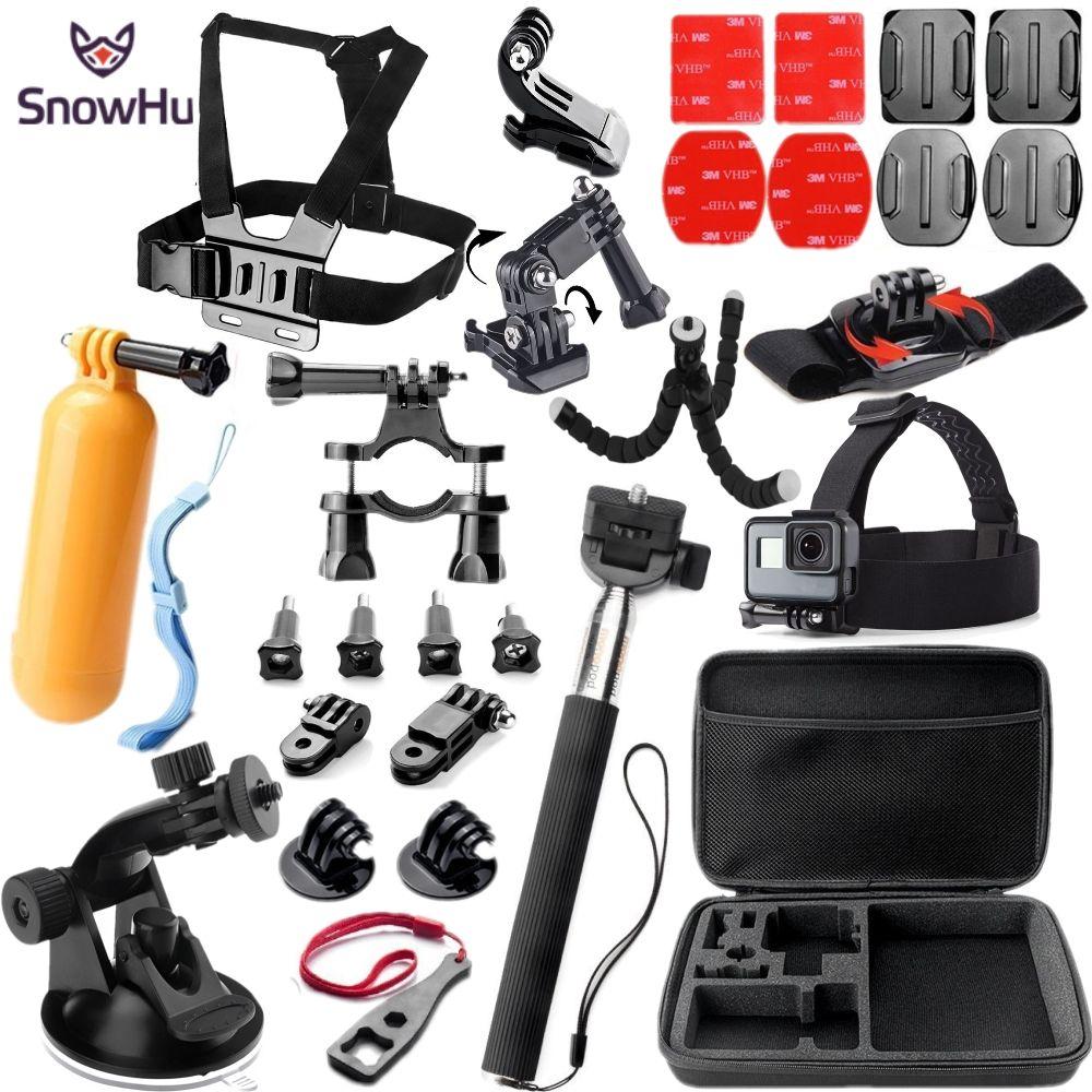 SnowHu Acción Accesorios de La Cámara Set Kit para gopro hero 5 4 3 montaje para SJCAM para SJ4000 para xiaomi yi 4 k para eken h9 GS32