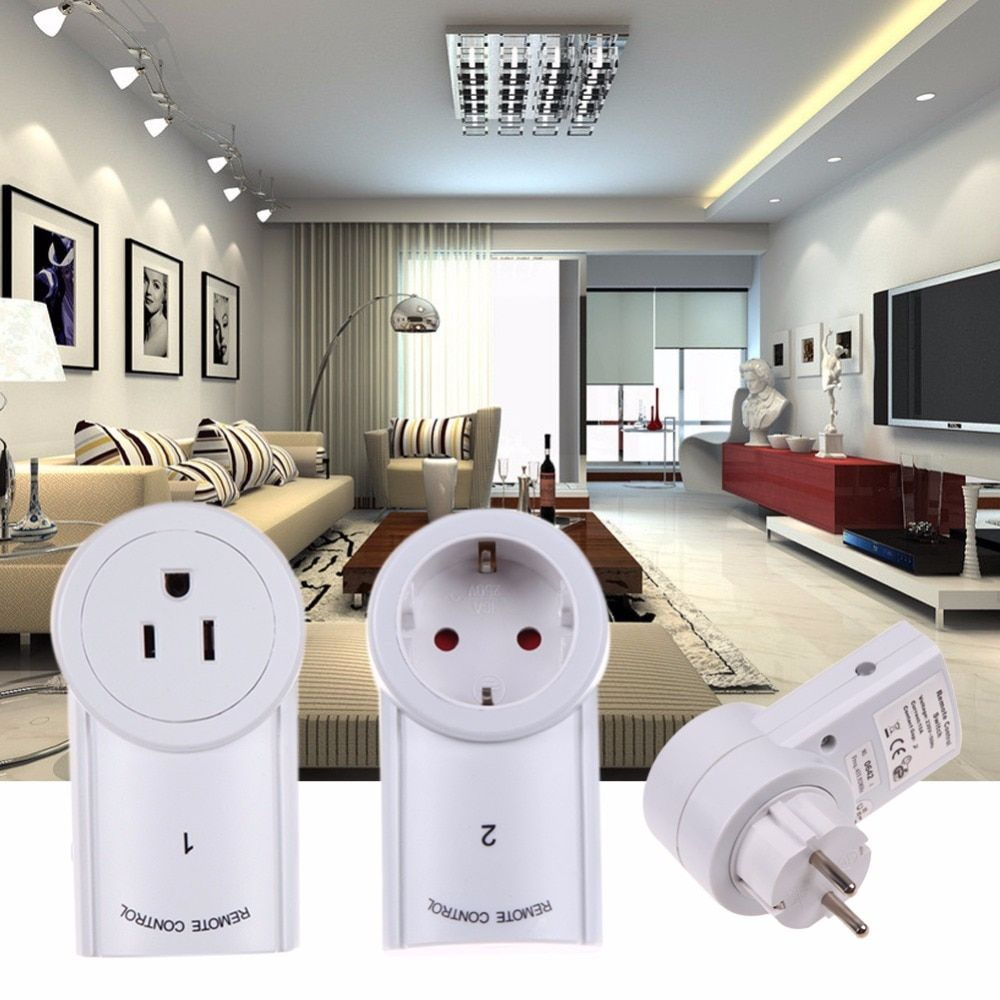 ALLOYSEED Wireless Smart Home Device With Remote Control EU/US Standard Plug Power Outlet Light Switch Plug Socket 433.93 MHz