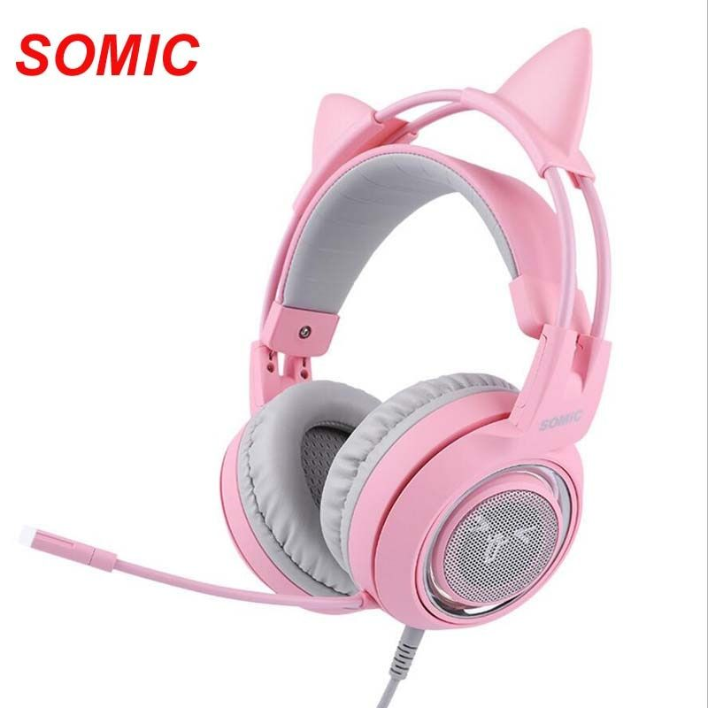 SOMIC G951 Pink USB Wired Gaming Headphone 7.1Virtual with Microphone cat Headsets for PC for PS4 ENC Noise Cancelling