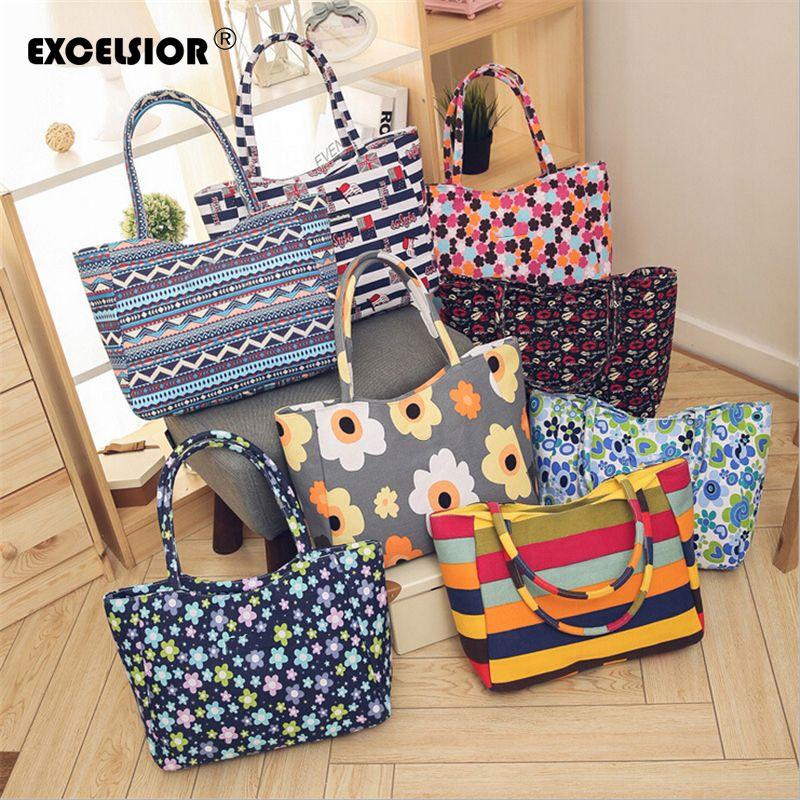 EXCELSIOR nouveau sac décontracté plage casual Zipper sac pour femmes sacs à main sac à provisions grand fourre-tout Floral imprimé dames unique épaule