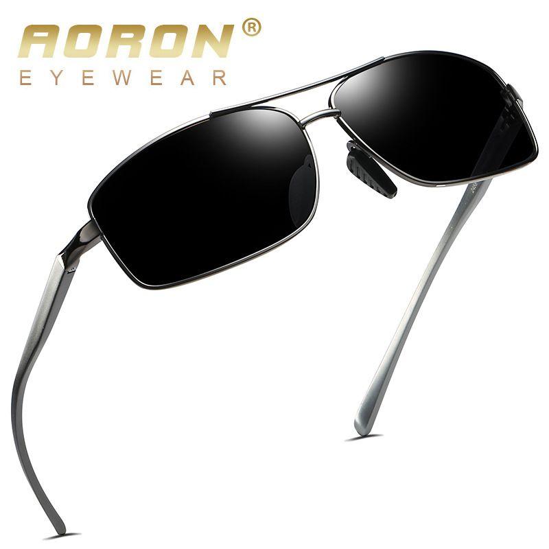 AORON marque hommes lunettes de soleil polarisées femmes aluminium magnésium alliage lunettes mâle UV400 lunettes Vintage Design lunettes Accessori