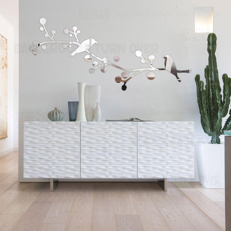 Bricolage Double oiseaux arbre 3D miroir décoratif mur autocollant maison Salon décor chambre Salon décoration mur Art affiche R212
