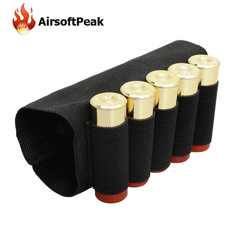 5 Round Cartridge Rifle Bullet Pouches Tactical Shell Holder Pouch Shotgun Buttstock Ammo Carrier Outdoor Hunting Bags *