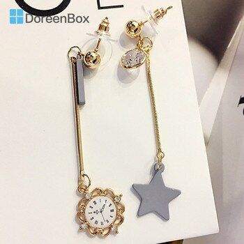 Doreen Box Alloy Gold Color Earings Clocks Grey Star Pendants Fashion Asymmtrical Stud Earrings For Women,1 Pair