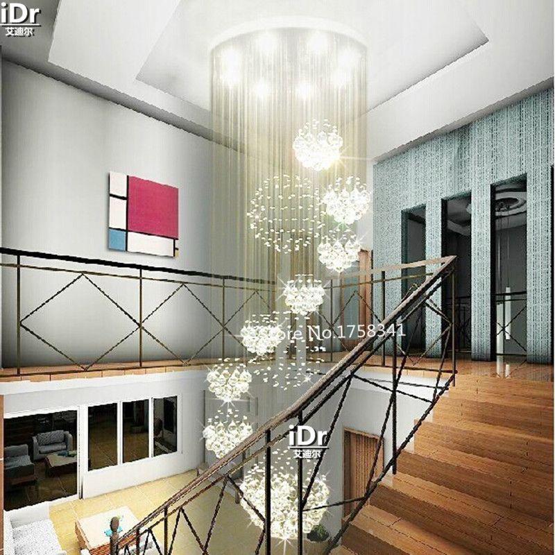 Salon moderne 11 boule cristal lustre penthouse étage escalier hall cristal lampe LED lumières suspendus fil luminaire