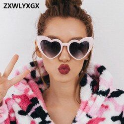 Zxwlyxgx 2018 nueva moda amor corazón Gafas de sol mujeres lindo sexy CAT EYE Retro Vintage barato Sol Gafas rojo femenina