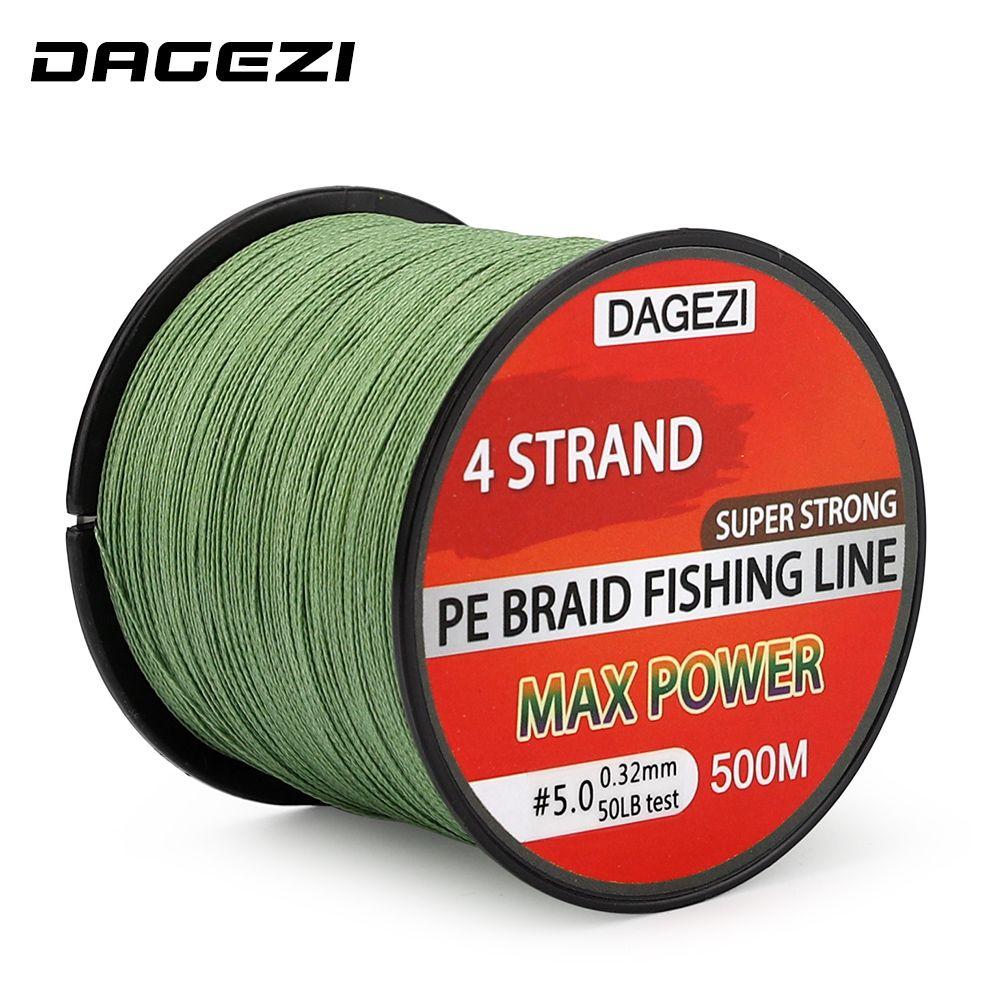 DAGEZI 500 m 10-90LB 4 lignes de pêche à la ligne de pêche tressée Super forte Multifilament 100% PE