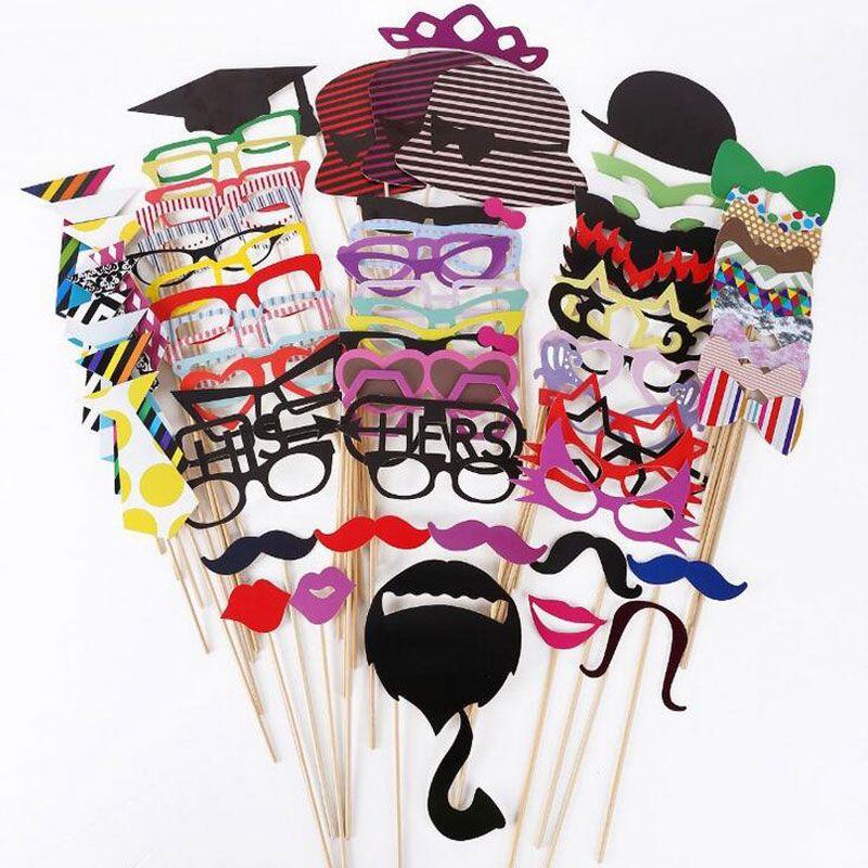 Accessoires Photo drôles 76 pièces décoration de mariage cabine Photo Prop On Stick nouvelle décoration de fête fête d'anniversaire moustache de noël