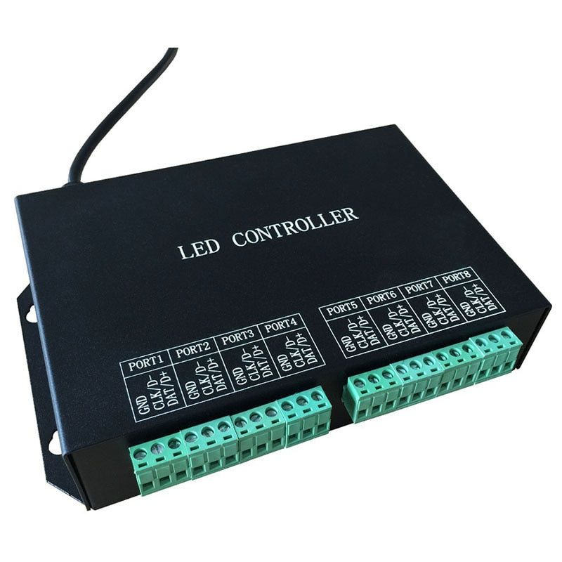 led strip controller,full color programmable,WS2811,WS2812 controller,8 ports drive 8192 pixels,support DMX512,WS2812,etc.