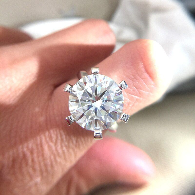 10 karat Rouund Brillante DF Farbe Moissanite Ring Fester 14K Weiß Gold 6 Prong Einstellung Solitaire Engagement Ring Für frauen