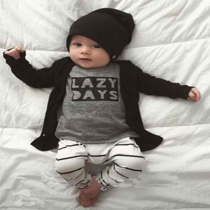 2pcs Autumn Baby Boy Clothes Newborn Infant Cotton Long Sleeves Baby Girls Clothing Sets T-Shirt + Pants Lazy Days Baby Clothes