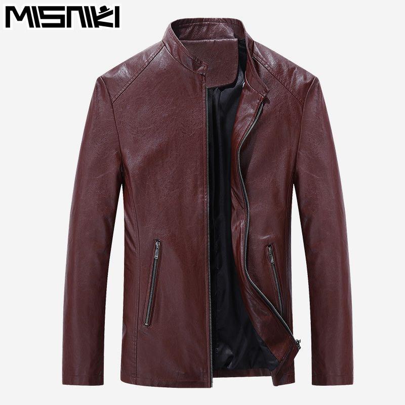 MISNIKI 2017 Best Selling Fashion PU Leather Jacket Men Good Quality Casual Slim Mens Jacket Coat (Asian Size)