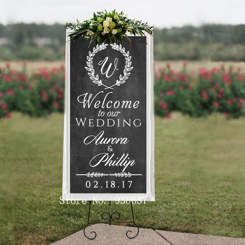 Autocollant mural personnalisé de signe de bienvenue de mariage-bienvenue à notre nom personnalisé de mariage autocollants en vinyle pour mariage ou tableau ZA120
