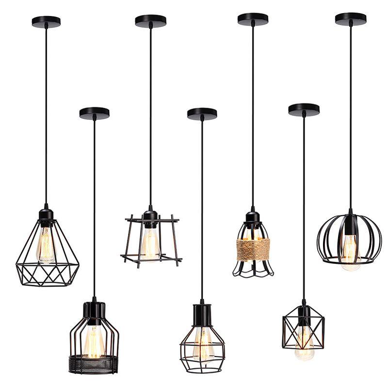 Retro Vintage E27 Industrielle Metallkäfig Cafe Bar Hängen Lampenschirm Pendelleuchte Pendelleuchten Leuchten