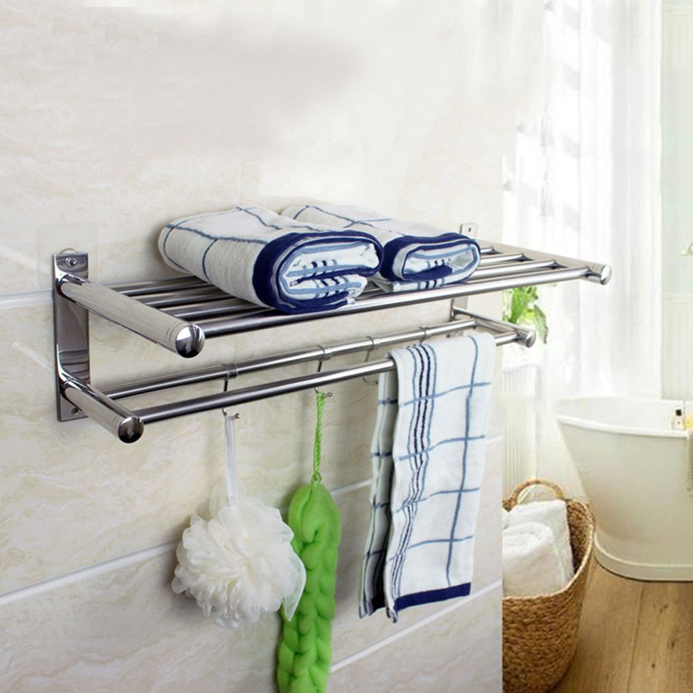 Bathroom Towel Shelf Stainless Steel Wall-Mounted Bathroom Towel Rack Soap Dish Towel Holder Need Drilling
